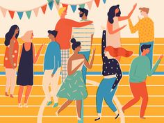 Party Illustration created for Facebook by Naomi Wilkinson