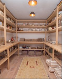 Pantry - lighting. simple shelves with baskets