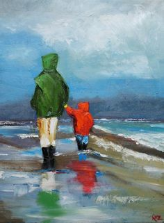 Beach 61 18x24 inch original oil painting by Roz by RozArt on Etsy