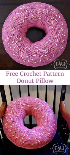 Crochet Donut Pillow - Free Pattern on Colorful Christine