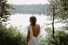 Boho wedding dress with low back lace.