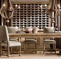 Dinning rood: There is my FAV table again.. Love these chairs, the chandelier is amazing! and who cant love a vintner hutch.. Perfect for a WINO like me