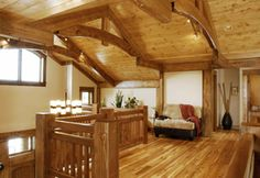 Oodles of money --> gorgeous timber frame house. In the mountains. With a pony.