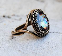 Swarovski Crystal Ring - Crown Victorian - Pecock Carnival and Antiqued Brass Adjustable Ring