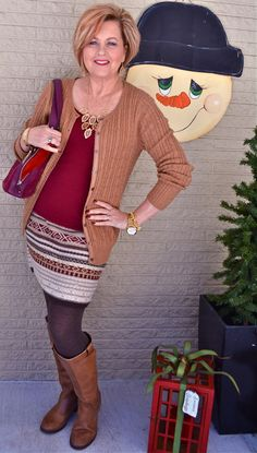 50 Is Not Old | Body Types | Radiant -  Fashion over 40 for the everyday woman - Boots + Cardigan _ Seater Skirt