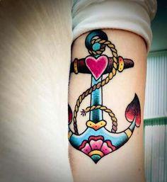 old school colorful anchor tattoo vintage renkli çapa dövmesi