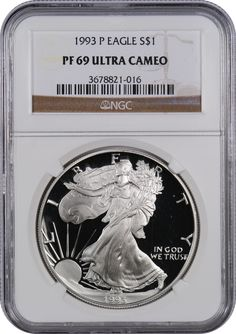 This 1993 P Silver Eagle PF69 UC, is a popular coin for investors and collectors alike! This coin has a face value of one US dollar.Each coin is 99.9% pure silver.The obverse features Adolph A. Weinman's Liberty Walking design used on the half dollar coins from 1916 to 1947. The reverse has John Mercanti's design of a heraldic eagle. Since 1986, the US Mint's West Point has made Silver American Eagle Coins in both proof and mint state finishes (with the exception of 2009 when no proof was…