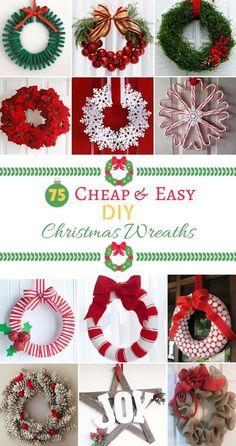 75 Cheap & Easy DIY Christmas Wreaths