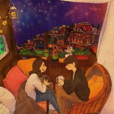 A starry night. We are having a talk while drinking some coffee.    See a full illustration : grafolio.com/works/280636