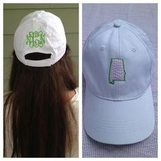 Monogrammed seersucker state hat from Monogram Belle! 3c0613354ce2