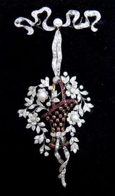 Ruby, diamond and pearl basket brooch.