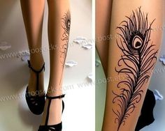 N E W!!!  Sexy, elegant and absolutely gorgeous PEACOCK FEATHER TATTOO thigh-high stockings LIGHT MOCHA. @Posts Create $18 #looksgoodonya