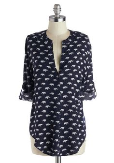 Safari As I Can See Top - Blue, White, Buttons, Long Sleeve, Good, Long, Woven, Print with Animals, Casual, Safari