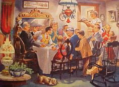 a good old fashioned Christmas dinner - it's not about the food. Vintage Thanksgiving, Vintage Christmas Cards, Vintage Holiday, Vintage Cards, Happy Thanksgiving, Christmas Past, Christmas Pictures, Family Christmas, 1950s Christmas
