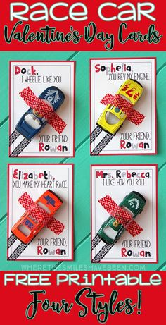 Car Valentine's Day Cards with Free Printable! - Race Car Valentine's Day Cards with Free Printable! -Race Car Valentine's Day Cards with Free Printable! - Race Car Valentine's Day Car. Kinder Valentines, Valentine Gifts For Kids, Valentines Greetings, Valentine Day Crafts, Valentine Ideas, Free Printable Valentines, Valentines Games, Valentine Nails, Homemade Valentines