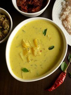 So today's recipe is the quintessential yogurt based gravy that will feature atleast (often more than that) once a week in every Malay. Today's Recipe, Recipe Today, Kerala Recipes, Ethnic Recipes, Onam Sadhya, Taro Root, Winter Melon, Raw Banana, Kerala Food