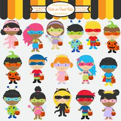 Trick or Treat Kids Clipart - adorable children dressed in costumes and ready to trick or treat.  Perfect for educational use, invitations, scrapbooking and more.