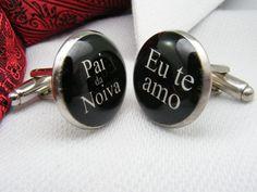 Pai da Novia - Eu te amo - Abotoaduras - Father of the Bride - I love you - Portuguese - Cufflinks - Mens Accessories - Wedding Ideas - Men on Etsy, $39.00 CAD