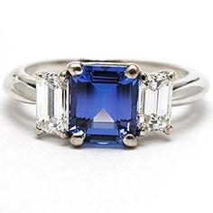 Tiffany Emerald Cut Sapphire And Diamond