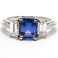 Tiffany Emerald Cut Sapphire And Diamond