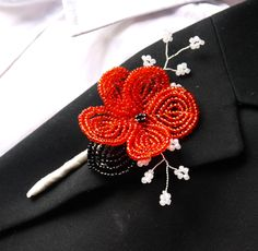 red ivory and black french beaded poppy flower buttonhole boutonniere corsage lapel pin for groom usher guest made to order. $35.00, via Etsy.