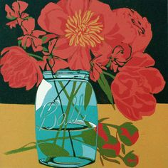 Mason Jar Bouquet original linocut by LisaVanMeter on Etsy