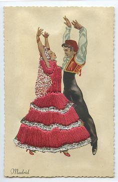 Embroidered Silk Flamenco Ethnic Dance Spain original 1960s