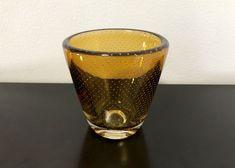 Gunnel Nyman GN3 Amber Yellow Art Glass Vase - Finnish Mid-Century Modern Vintage Glass Design from Nuutajärvi, Finland Modern Glass, Mid-century Modern, Lassi, Yellow Art, Glass Design, Pint Glass, Finland, Scandinavian, Glass Art