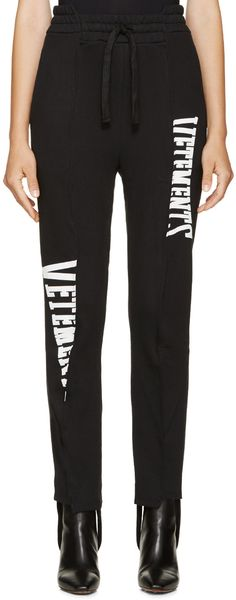 VETEMENTS Black Stirrup Paneled Logo Sweatpants. #vetements #cloth #sweatpants