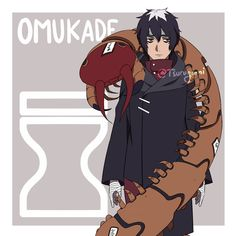 Omukade, the Giant Centipede of Sunagakure Introducing the new character for Konoha RGB story! Don't worry, he's an ally. Omukade is a puppet master and an expert in poisons. The giant centipede that wrapped his body is a puppet, although he secretly. Naruto Games, Naruto Art, Anime Naruto, Naruto Shippuden, Boruto, Naruto Oc Characters, Black Anime Characters, Neji And Tenten, Itachi
