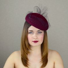 Burgundy Pillbox Hat with Birdcage Veil - Red Wine Fascinator - Red Wine Cocktail Hat -Church Hat - Christening Hat - Races Hat - Pop colour Red Wine Cocktails, Black Fascinator, Evening Hairstyles, Hat Blocks, Cocktail Hat, Pillbox Hat, Church Hats, Elements Of Style, Hat Shop