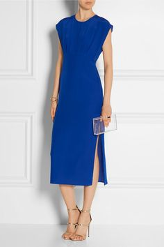 Cobalt-blue silk crepe de chine Button fastening at back, concealed hook and zip fastening at side 100% silk Dry clean
