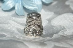 Antique Sterling Silver Thimble w/Grapes