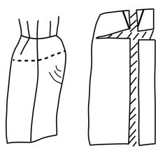 Illustration depicting pattern alteration of skirt for protruding abdomen