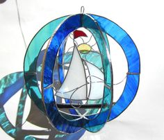 Smooth Sailing  Medium 3D Stained Glass Sphere  by katiediditglass, $68.00