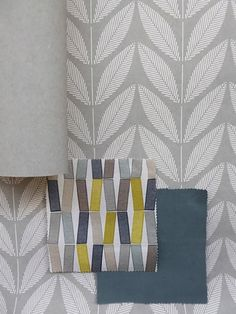 Feather Grey Shoot wallpaper combined with Lemon Slice Flip and Oil Blue Alibi are perfect for a bedroom - By Natasha Marshall Ltd. Marshall Wallpaper, Grey Curtains, Lemon Slice, Colour Schemes, Color Splash, Playroom, Family Room, Feather, Fabrics