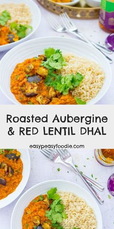 This delicious Roasted Aubergine and Red Lentil Dhal ticks so many boxes its quick and easy to make family friendly budget friendly vegetarian vegan gluten free and packed full of goodness! Serve with brown rice for a deliciously virtuous midweek meal! Lentil Recipes, Curry Recipes, Veggie Recipes, Indian Food Recipes, Vegetarian Recipes, Dinner Recipes, Cooking Recipes, Healthy Recipes, Ethnic Recipes