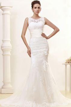 Mermaid Scoop Neck Sleeveless Lace Court Train Wedding Dress