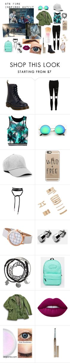 """""""Bts fire inspired outfit"""" by kimlydia1995 ❤ liked on Polyvore featuring Dr. Martens, Casetify, Forever 21, Vans, Lime Crime, Pop Beauty and Maybelline"""