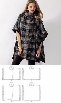 Veritas cape poncho pattern and tutorial holiday jacket coat bolero PDF Clothing Patterns, Dress Patterns, Sewing Patterns, Clothes Crafts, Sewing Clothes, Sewing Hacks, Sewing Tutorials, Sewing Projects, Edgy Outfits