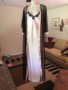 PETRA Sexy Lingerie Peignoir Gown Robe S Full Length Pink Black    eBay