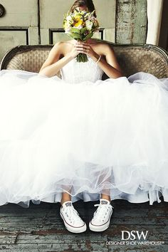 A bride wearing sneakers under her bridal dress is not much of a big deal at white weddings. Their ceremony of course has the bride dancing on her feet like crazy and not act shy at her own wedding. Wedding Goals, Wedding Pics, Wedding Shoot, Wedding Styles, Dream Wedding, Wedding Day, Wedding Dresses, Dress With Converse, Converse Wedding Shoes