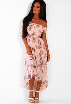 ec908a91b8133 Miss Sweetheart Pink Floral Bardot Maxi Dress | Pink Boutique Pink Floral  Maxi Dress, Maid. Pink Boutique UK