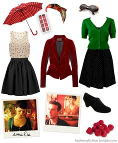 Fashion inspired by Le fabuleux destin d'Amélie Poulain (2001). Amelie, an innocent and naive girl in Paris, with her own sense of justice, decides to help those around her and along the way, discovers love. http://www.imdb.com/title/tt0211915/