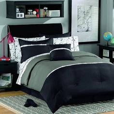 @Overstock - Get a complete set of bedding for your teenage son in one place with this convenient kids' bed in a bag, which includes everything from sheets to a comforter. This comfortable bedding's black and white color scheme will match most teens' bedrooms.http://www.overstock.com/Bedding-Bath/Kyle-Bed-in-a-Bag-with-Sheet-Set/7260131/product.html?CID=214117 $62.99
