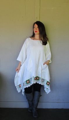 Eco upcycled clothing/French shabby Lagenlook tunic/Bohemian top/Boho Funky shirt/repurposed top/recycled X Large-1X plus size    Great for