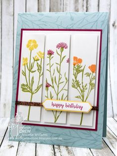 Nicole Wilson Independent Stampin' Up!® Demonstrator Colour INKspiration 21, so saffron, peekaboo peach, rose red, pear pizzazz and soft sky, birthday card #stampinup #CI21 #birthday #flowers