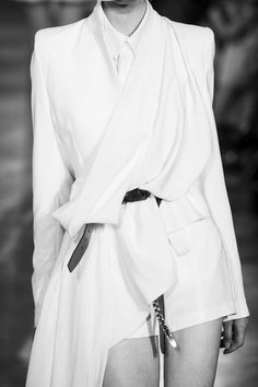 Asymmetric draped jacket, tailored white fashion details // A.F. Vandevorst Spring 2013