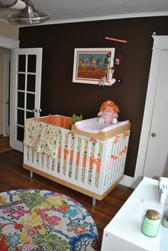 Oeuf Crib and changing table. Rug from Anthropologie
