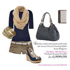 cute and casual spring  or fall outfit - paired with the 5th avenue bag from thirty-one and my new favorite: the timeless wallet.  in april, save 50% on this bag - get both pieces for only $98  www.mythirtyone.com/hmarkhardt